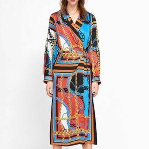 Brand New Zara Chain Print Dress M * Blogger Fave
